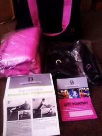 BRAND NEW 'BANNATYNE' INFLATABLE LARGE EXERCISE BALL & SKIPPING ROPE IN MATCHING BAG