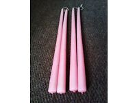 BRAND NEW LOVELY QUALITY VERY LONG FOUR TAPER CANDLES IN LOVELY PINK SHADE