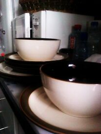 BRAND NEW VERY GOOD QUALITY MATCHING SET FOR TWO - TWO LARGE AND FOUR MEDIUM PLATES WITH TWO BOWLS