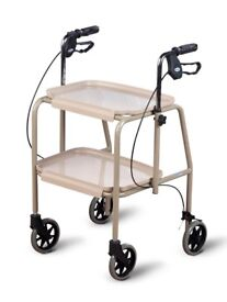 AS NEW -TROLLEY WALKER WITH BREAKS - very stable/height adjustable/walking trolley