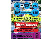 (ANY DAY ) Alton Tower tickets (with or without transport )