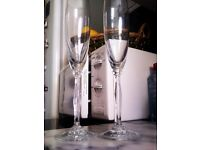 ORIGINAL WAS LIMITED EDITION VERY GOOD QUALITY THIN GLASS PAIR OF CHAMPAGNE FLUTES GLASSES