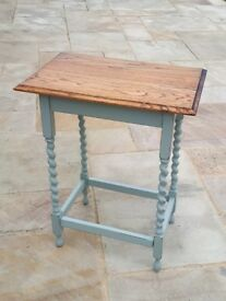 Rustic Oak Barley Twist Small Console Table