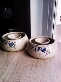 ORIGINAL UNIQUE HAND MADE AND HAND PAINTED MATCHING PAIR OF VERSATILE CANDLE HOLDERS