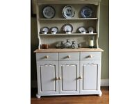 Solid Pine Vintage Welsh Dresser Painted In Annie Sloan Warm Cream