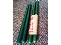 BRAND NEW LOVELY QUALITY FOUR DARK ROYAL GREEN TAPER CANDLES