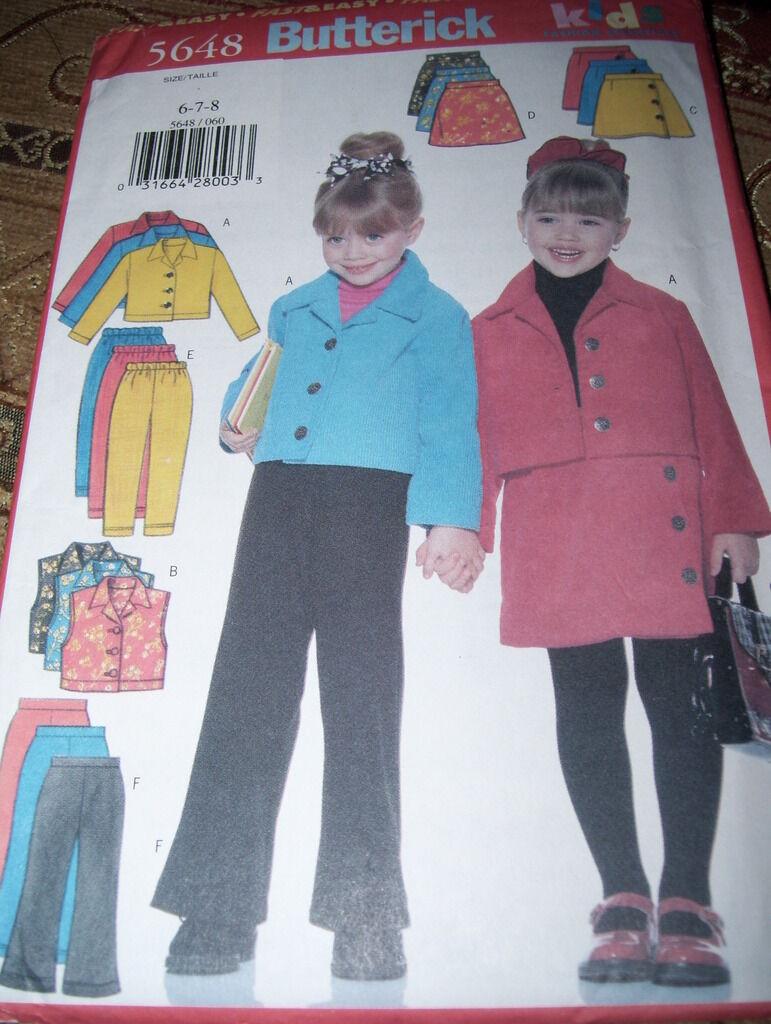 Купить BUTTERICK - BUTTERICK #5648-GIRLS WINTER SCHOOL JACKET - PANTS - SKIRT - VEST PATTERN 6-8 FF