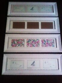 TRULY LOVELY VERSATILE SET OF MATCHING FOUR WHITE PICTURES, PHOTO FRAMES THAT GO BOTH WAYS