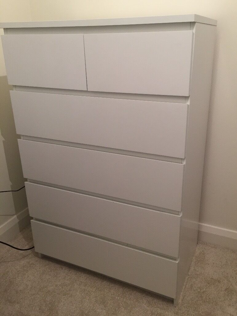 ikea malm large chest of drawers white 6 drawers good condition