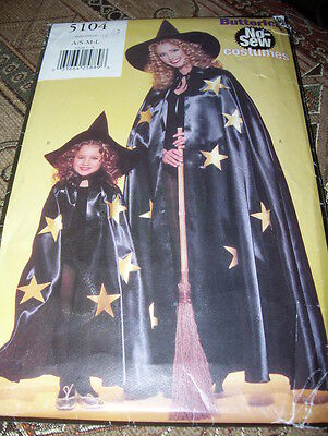 Mother Daughter Witch Costumes (BUTTERICK #5104-MOTHER & DAUGHTER ( NO SEW ) WITCHES COSTUME PATTERN  SM-LG  )