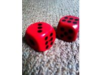 NICE DECORATIVE OR TO PLAY WITH LARGE SOLID PAIR OF DARK RED DICES