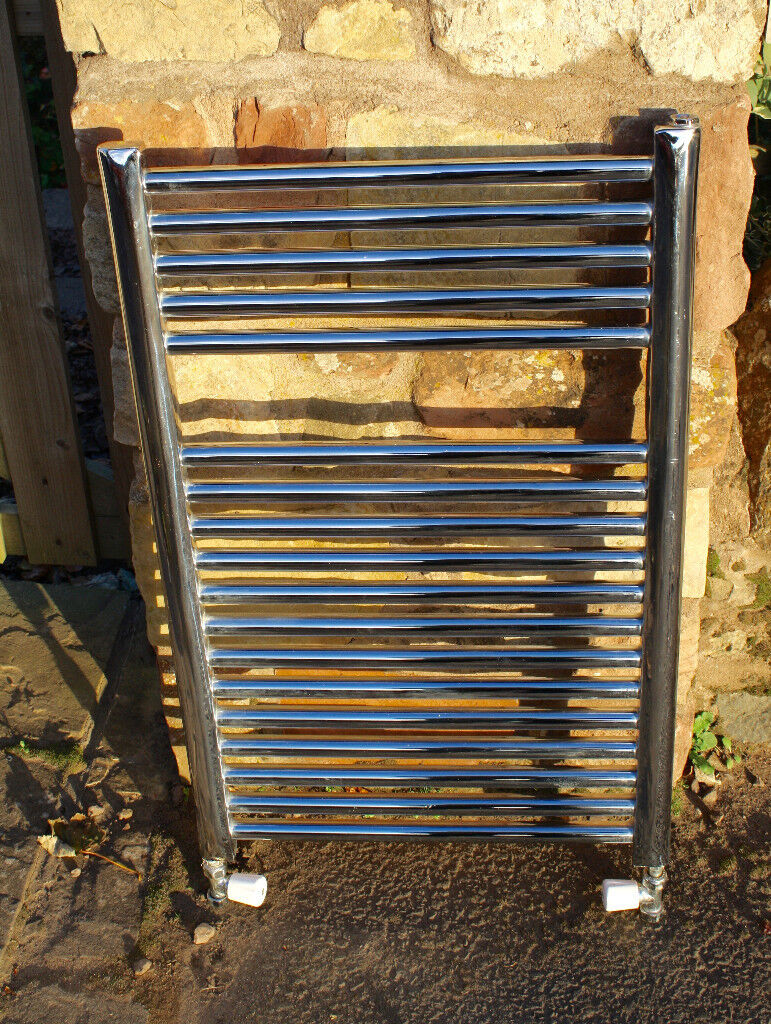Flat Chrome Central Heating Towel Radiator 780mm height x 500mm width x 35mm deep