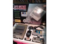 Boxed Super Nintendo Snes with Mario world