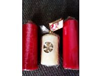BRAND NEW GOOD QUALITY PILLAR CANDLES - 2 RED AND ONE SMALLER IN VANILLA