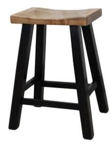 Mennonites Handcrafted Ontario Solid Maple Wood Heavy Duty kitchen Counter Saddle Bar Stools - FREE SHIPPING