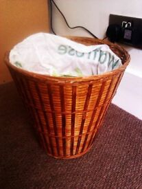 LOVELY ORIGINAL STANDARD SIZE REAL WICKER PAPER BASKET, BIN