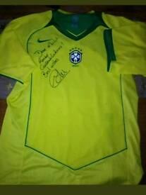 Edu Gaspar signed Brazil shirt 2004 match Magazine compertition prize