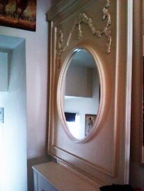 ORIGINAL UNIQUE CUSTOM HAND MADE REAL WOOD PANEL WITH A ROUND MIRROR FOR WALL, FIREPLACE OR RADIATOR