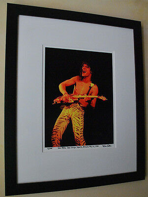 Eddie Van Halen live RARE fine art photo framed in 16x20 1984 signed # 5/100