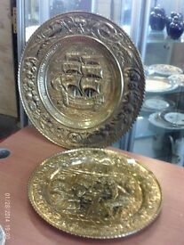 Pair of large brass plaques/plates for wall art
