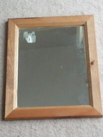 Wood frame mirror 14 inch x 17 inches