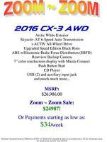 2016 Mazda CX-3 *BRAND NEW* AWD *UNLIMITED KM WARRANTY*