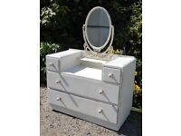 Pretty Shabby Chic bedroom furniture - dressing table with matching bedside unit