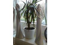 2 JOHN LEWIS white ceramic figurines 33 cm tall