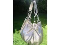 designer JANE NORMAN silver metallic shoulder bag