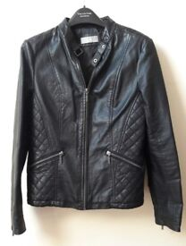 Wallis Ladies Black Faux Leather Jacket - Very good condition - size 14
