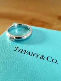 Genuine Tiffany Étoile Platinum Diamond Solitaire Engagement Ring .21ct D VVS1