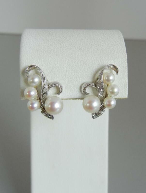 Vintage Signed Mikimoto Earrings Silver Cultured Akoya Pearls Post Pierced