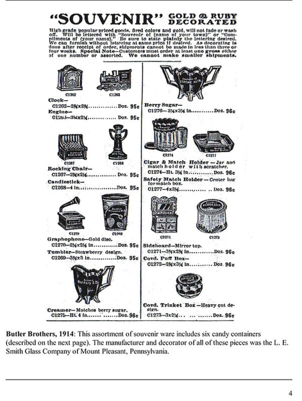 Glass Candy Containers, 1909-1947, catalogs, ads
