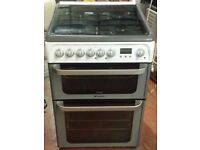 Hotpoint 60 cm wide double oven and grill dual fuel cooker