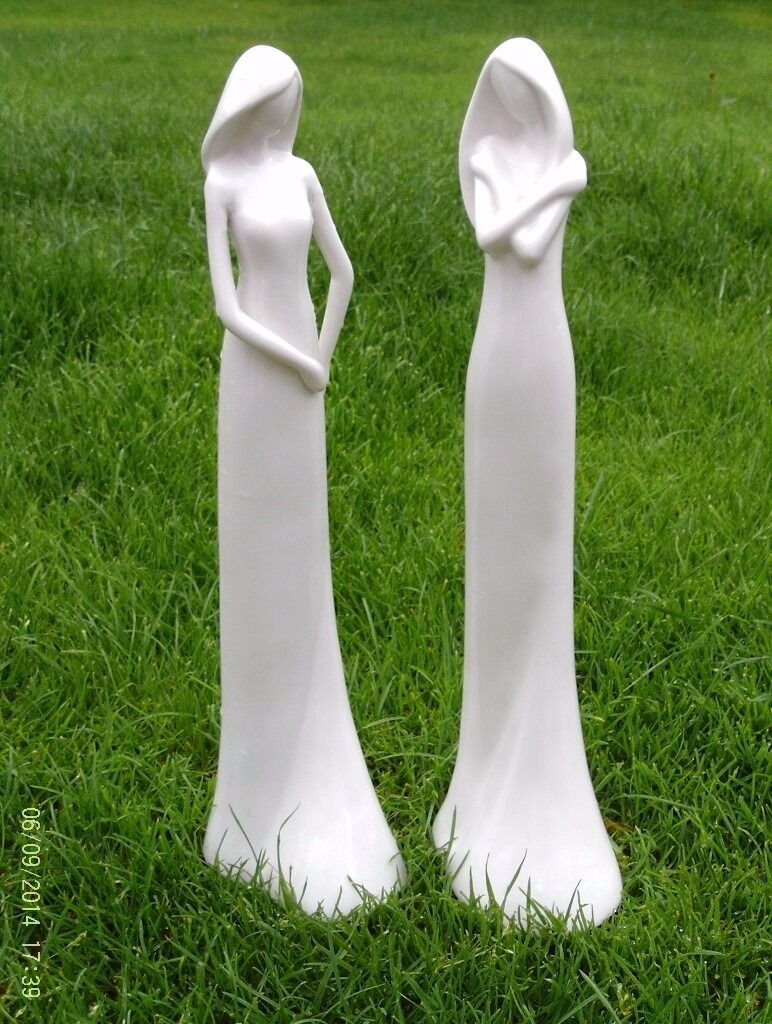 2 JOHN LEWIS white ceramic figurines 33 cm tall