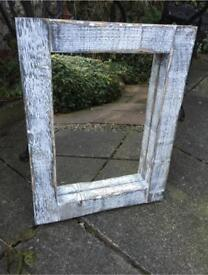 Lovely shabby chic mirror rustic mirror wooden mirror white black mirror