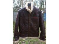Mens Faux Leather Sheepskin Flying Jacket. (BNWT)