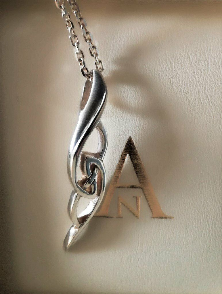 NEW JEWELLERY Silver Pendant Curb Chain Twisted BOHO Celtic Design  Contemporary Gift Hallmark 925 6g | in Canterbury, Kent | Gumtree