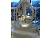white wooden dressing table mirror
