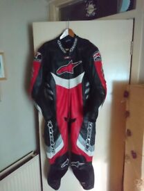 Alpinestar race suit. One piece armour sliders good condiition change of bike so doesnt get used.
