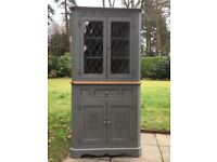Hand Painted Oak Corner Dresser In Elephant Grey