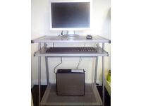 METAL COMPUTER DESK PC MONITOR PRINTER WORKSTATION