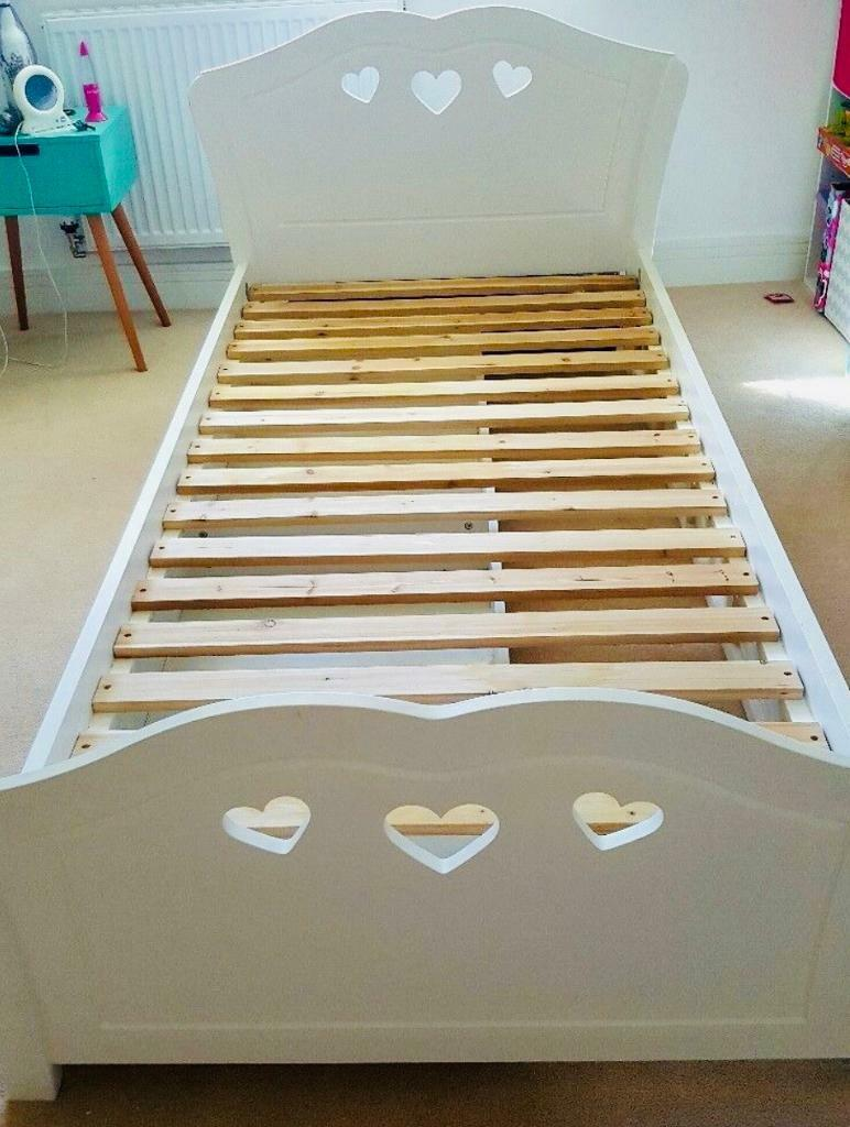 White Wooden Single Bed With Love
