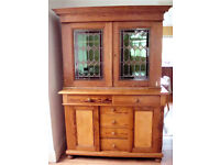 *** Rare Antique Pine Solid Wood Sideboard Display Cabinet Top Unit cathedral glass ***