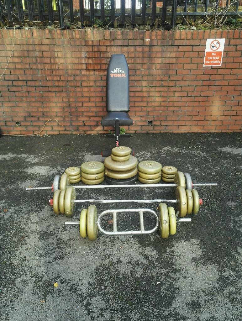 YORK WEIGHT FITNESS BENCH & BARS - 122KG FREE WEIGHTS!!