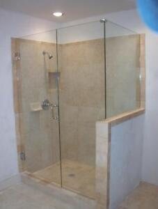 Shower Enclosure, custom glass work, tub glass slider, standing slider