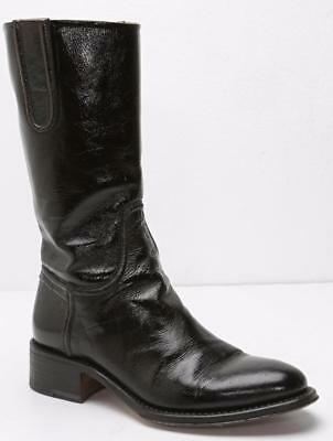 ROCCO P. Womens Deep Brown Patent Leather Mid-Calf Round Toe Boots 8-38