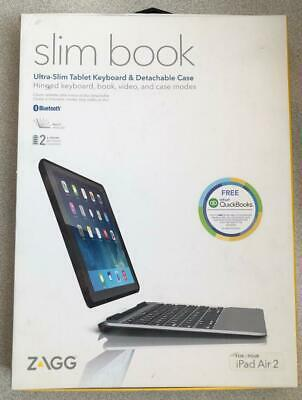 OEM Zagg Slim Book Hinged w/ Detachable Bluetooth Keyboard for Apple iPad Air 2#