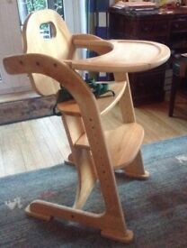 East Coast Multi-Height Natural Wooden High Chair