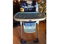 Baby High Chair by Chicco - Excellent Condition. Adjustable tray. Multi position arms. Folds flat.
